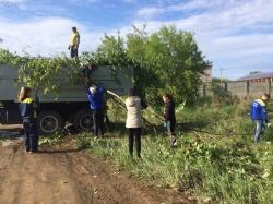 Убрали мусор, обрезали поросль и побелили деревья. Ребята из ЦВР провели субботник
